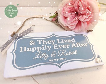 Wedding Anniversary Plaque sign & They Lived Happily Ever After Personalised Gift