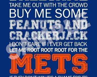 NY Mets Word Art 5x7 Print / Sign - Take Me Out to the Ballgame - New York Mets Subway Art Print