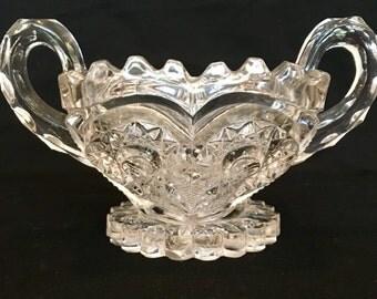 Pressed Glass Sugar Bowl/Spooner Vintage