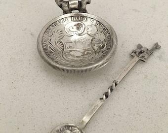 925 Sterling Silver Salt Cellar, Peruvian Coin Llama Salt