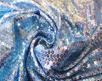 "JN00609 Blue 5mm Full Sequin Charmeuse Satin 2"" Salvage Soft Silky Smooth Lightweight Quality Fashion Home Decor 54/58"" Fabric By The Yard"