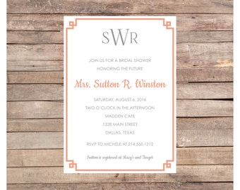 Sutton Bridal Shower Invitation, Printed Shower Invitation, Digital Shower Invitation, Printable Shower Invitation, Custom Shower Invite