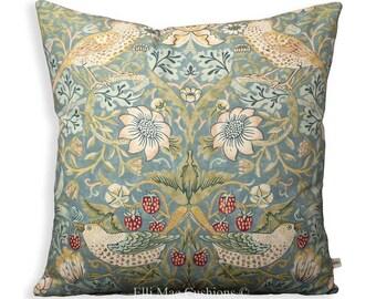 """William Morris Fabric Cushion Cover """"Strawberry Thief""""Slate Designer Sofa Throw Pillow"""