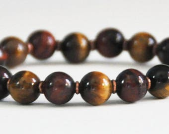 Tiger Eye Stretch Bracelet, Healing Copper, TigerEye Bead, Gemstone, Beaded, Stacking Bracelet, Protection, Strength, Confidence, Courage