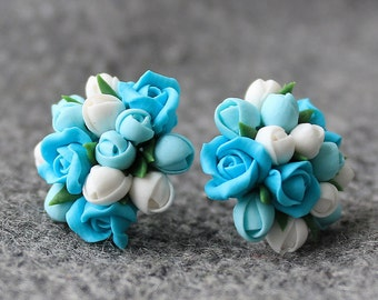 Polymer Clay Flower Stud Earrings, Polymer Clay Flower Earrings, Polymer Clay Flower Stud, Flower Stud Earrings, Floral Studs, Clay Stud