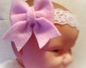 Pink Bow Infant Headband