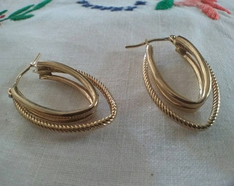 Vintage 9ct Gold Hoop Earrings Ladies Large Tear Drop Shape  Triple hoops