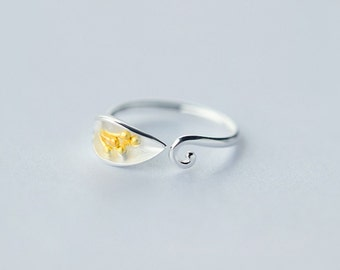Free shipping: sterling silver flower adjustable ring