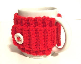 Mug sweater, mug cozy, coffee cup sleeve, mug hug, crochet mug holder, red mug wrap, coffee cuff, java holder, mug insulator, drink holder,