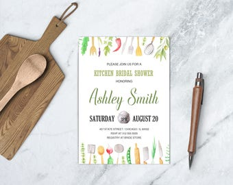 Kitchen Bridal Shower Invitation, Cooking Pampered Chef Bridal Shower, Stock the Kitchen Invitation, DIGITAL FILE