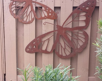 Outdoor Metal Wall Art   Natural Steel   Wall Art   Monarch Butterfly Metal  Garden Wall