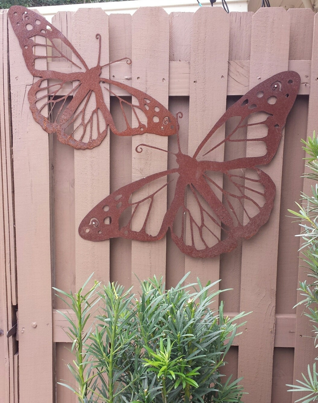 Outdoor metal wall art natural steel wall art monarch for Outdoor metal wall art