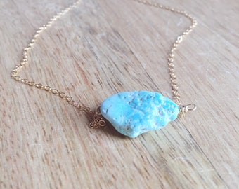 Turquoise Necklace - Raw Turquoise Necklace - Turquoise Jewelry - Genuine Turquoise Jewelry - Raw Stone Necklace - December Birthstone