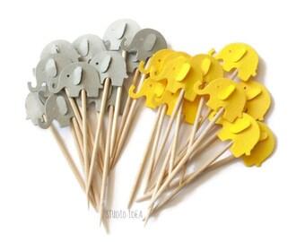 Mixed Yellow & Grey Elephant Cupcake Toppers, Food Picks-Set of 12pcs, 24 pcs
