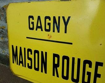 Rare Antique French Paris Maison Rouge Enamel Bus Destination Sign / Plaque / Bus Route Sign-Gagny,Paris Transport Sign,Enamel Headsign