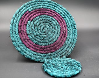 Jewel Toned Coaster Set, Green Purple Coaster Set, Boho Fabric Coiled Hot Pad, Handmade Trivet Set,