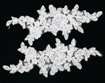 GM Pair IVORY Vintage Beaded Lace Sew On Flower Motifs Appliques GUIPURE (GM3)