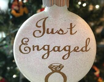 Custom Just Engaged Glass Glliter Ornament