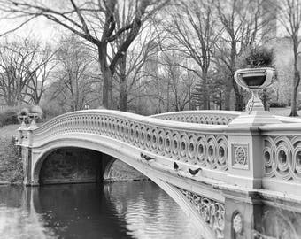 Central Park, Bow Bridge, New York Photography, Black and White, Landscape, Nature, Romantic, New York Wall Art, Home Decor