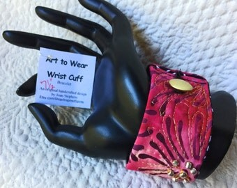 """Wrist cuff 7 1/2"""", fiber art bracelet, art to wear cuff, textile art cuff, fiber jewelry, Cuff bracelet, OOAK, Wearable wrist cuff art  #36"""