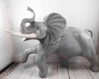 Large Gray Ceramic Elephant,elephant statue,african elephant,marching elephant,ceramic figurine,animal figurine,asian elephant,grey elephant