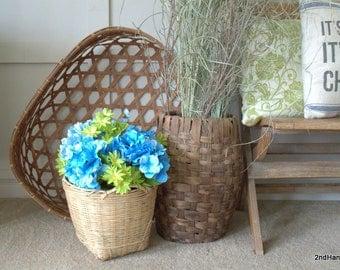 Handmade Tobacco Basket,  Large  Woven Toy Basket , Hand Made Wooden Blanket Basket, Huge Laundry Basket,