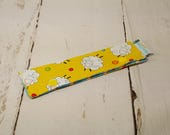 """Short Needle Cozy DPN Holder - Sheep on Yellow -  project holder 7""""x2""""- (Hold up to 6"""" Needles) NCS0012"""