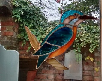 Stained glass Kingfisher light catcher and hanger.