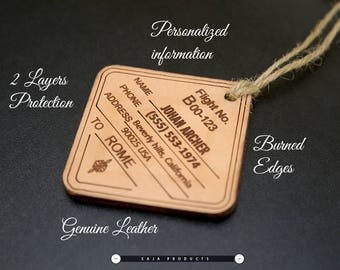 Set of 2 Genuine Leather Luggage Tags/ Travel Tag/ Personalized Tags/ Custom Luggage Tag/ Leather Gifts / Anniversary gifts / Vacation gift
