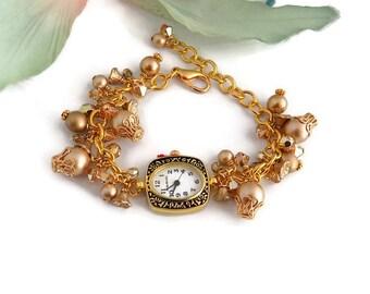 Gold Pearl Watch  Victorian Style Watch  Women Beaded Watch Edwardian Style Jewelry