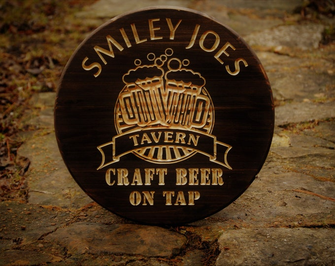 Personalized Gift Beer Sign Whiskey Wine Barrel Bar Sign Home Brewing Sign Custom Bar Sign Wedding Barrel Pub Tavern Sign Craft Beer Brewer
