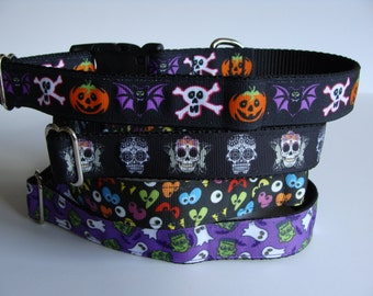 READY TO SHIP! Halloween Dog Collars - Trio of Terror, Skulls, Spooky Eyes, Monsters