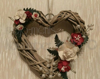 Decorated Wicker Heart with Red & White Roses - Small
