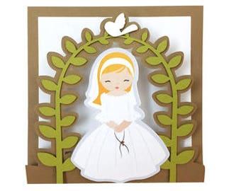 Girl First Communion Card , Church , Gift , Blessed , Ceremony , Eucharist , Traditional , Holy , God