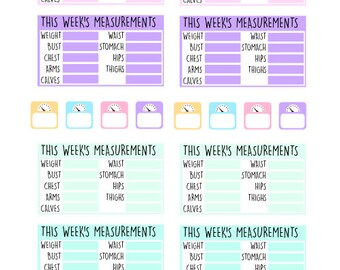 Weekly Measurement & Weight Stickers , 24 piece set , Journals , Calendar , reminder , Labels , Lose weight , Exercise