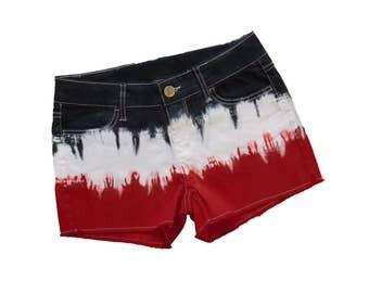 Deep Red + Black Tie-Dye Shorts