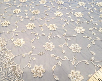 White and blue sequins lace fabric #D51