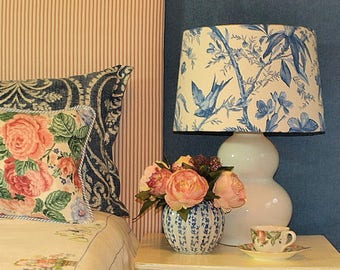 Large Australian Made Lamp Shade Blue and Ivory Floral, Tapered Drum, 2 Sizes, 2 Fittings, Made to Order 1-2 weeks