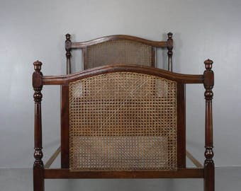 Single Antique Caned Bed