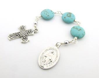 Three Hail Mary Devotion Chaplet Catholic Prayer Beads - Miraculous Medal Turquoise Gemstone Unbreakable Chaplet -  Catholic Gift
