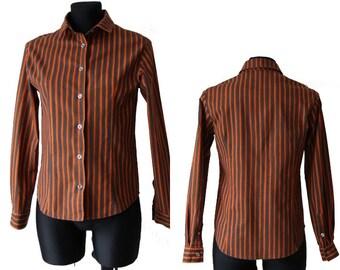 MARIMEKKO Women Striped Cotton Blouse Iconic Verticals Long Sleeve Rust Gray Shirt  Size S