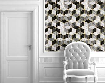 Carrera Marble Geometric Repositionable Peel 'n Stick Wallpaper