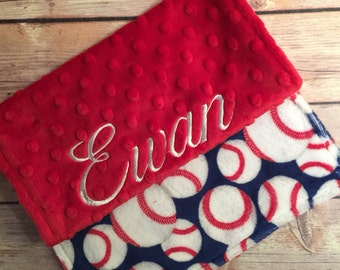 Baseball Burp Cloth Set  Available Mix and Match  Made to Order, Monogramming Option Red Blue White Sport