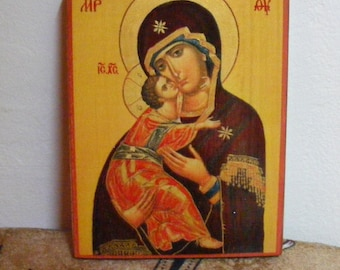 """Theotokos , orthodox icon,  icon hand painted of hot colors directly on solid wood 18x24x2 см ( 7.0""""x 9.6""""x0.8"""" )!"""
