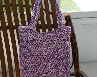 Kathy & Anne's Plarn Shop: Purple and White Tote Bag