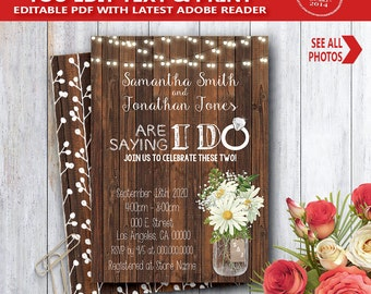 I do shower Invitation wood rustic are saying I do couples shower engagement rehearsal dinner YOU EDIT text and print yourself invite 14119