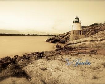 Vintage Castle Hill Lighthouse ~ Newport, Rhode Island, Lighthouses, Photograph, Nautical, Ocean, Seaside, Coastal Decor, Artwork, Joules