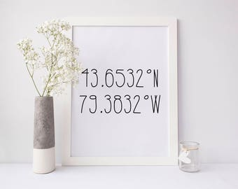 Coordinates Printable, coordinates personalized print, latitude longitude print, custom coordinates print, city coordinates printable, gift