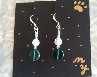 Hand wire wrapped Green and glass earrings