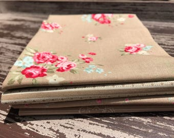 "Floral Fabric, Moda, ""Caroline"" by Brenda Riddle Designs, 4 Piece Fat Quarter Bundle in Taupe, Cotton"